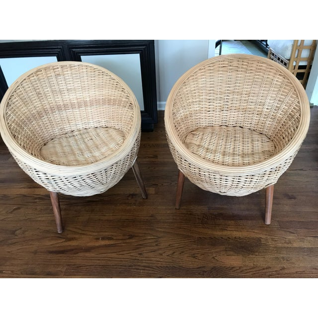 Boho Chic Rattan Barrel Tub Chairs Danish Modern Style With Wood Legs - Pair For Sale - Image 3 of 13
