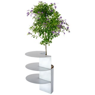 Satin Aluminum Side Table Planter by Birnam Wood Studio For Sale