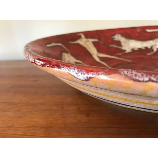 Red Eugenio Pattarino Ceramic Charger For Sale - Image 8 of 10