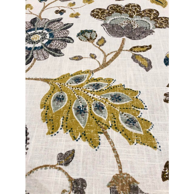 2010s Robert Allen Spring MIX - Transitional Aloe Mustard and Celadon Botanical Printed Multipurpose Fabric - 27.5 Yards For Sale - Image 5 of 7