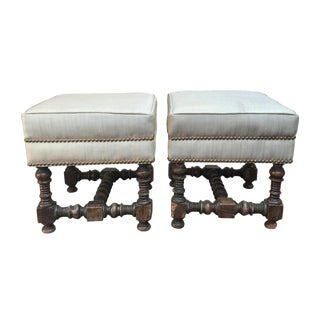 Late 18th Century Jacobean Walnut Stools- A Pair For Sale