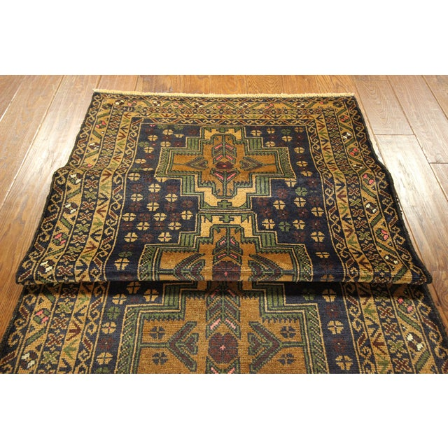 "Navy & Tan Balouch Runner Rug - 2'11"" x 9'9"" - Image 9 of 10"