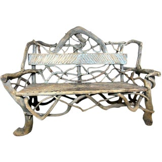 American Rustic Adirondack Twig & Root Bench For Sale