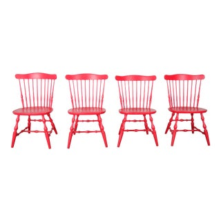 Vintage Set of 4 French Oak Windsor Style Magenta Dining Chairs For Sale