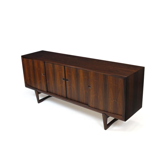 Danish Rosewood Credenza With Metal Pulls For Sale - Image 4 of 11