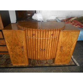 1940's Art Deco English Antique Burl Wood Sideboard Buffet Preview