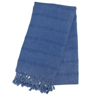 Handwoven Turkish Denim Blue Towel For Sale