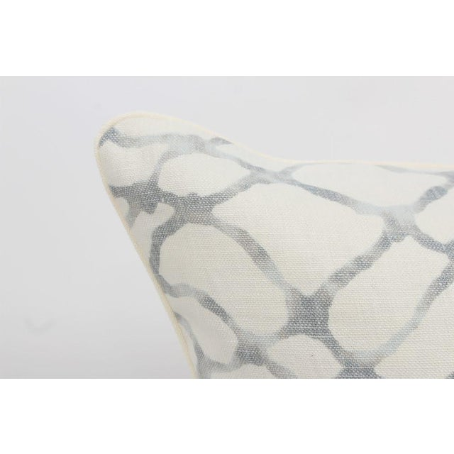 Ivory and Blue Gray Linen Lagoon Pillows, a Pair For Sale - Image 4 of 6