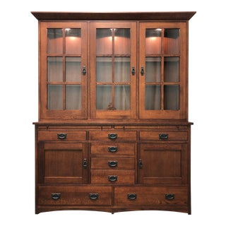 Le Meuble Villageois Mission Oak China Cabinet Hutch For Sale