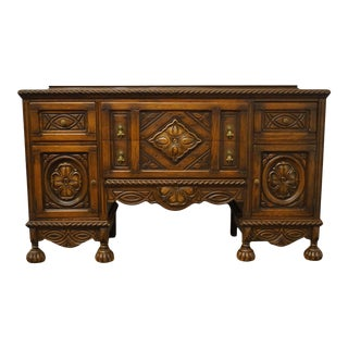 1940s Vintage English Revival Gothic Jacobean Sideboard Buffet For Sale