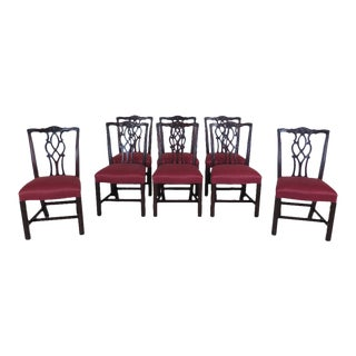 Kindel Chippendale Carved Mahogany Dining Room Chairs - Set of 8 For Sale
