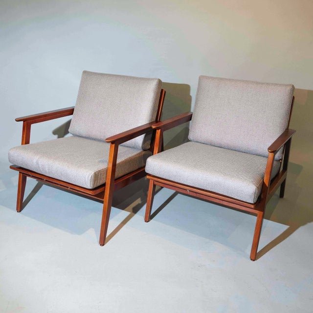 Textile Vintage Mid Century Lounge Arm Chairs - a Pair For Sale - Image 7 of 7