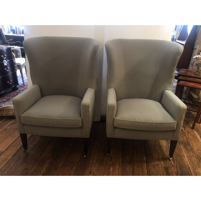 Flannel Upholstered Barrel Back Wing Chairs by Baker -A Pair For Sale - Image 13 of 13