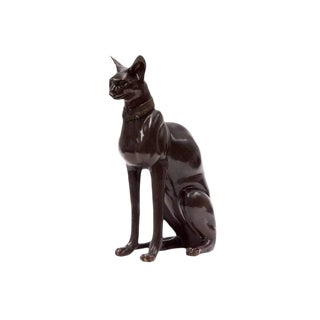 A. Tiot Signed Bronze Sphynx Regal Sitting Upright Statue For Sale