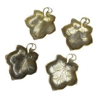 Brass Leaf Shaped Serving Bowls - Set of 4