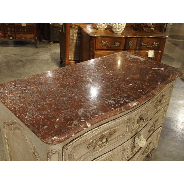 Gray Antique Louis XV Style Painted French Chest of Drawers with Marble Top For Sale - Image 8 of 10