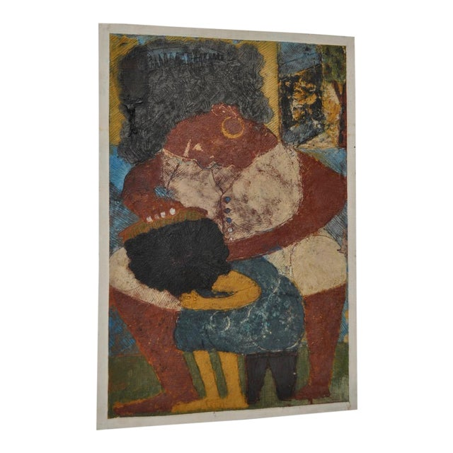 "Circa 1964 Vintage ""Combing Hair"" Haitian Painting - Image 1 of 8"