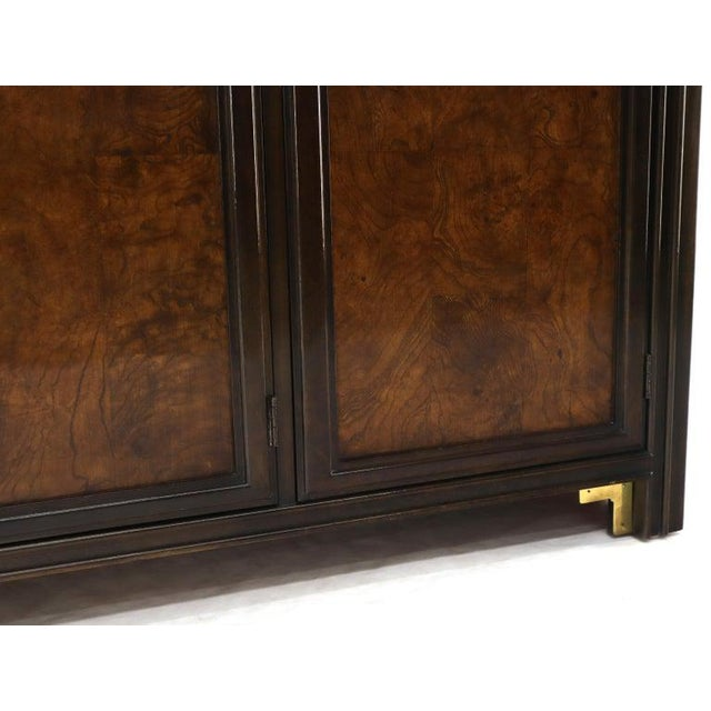 Brown Solid Brass Trim Burl Wood Credenza Server Cabinet Extra Long Dresser For Sale - Image 8 of 10