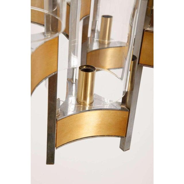 Sciolari Brass Glass Sculptural Chandelier,1970s For Sale - Image 6 of 11