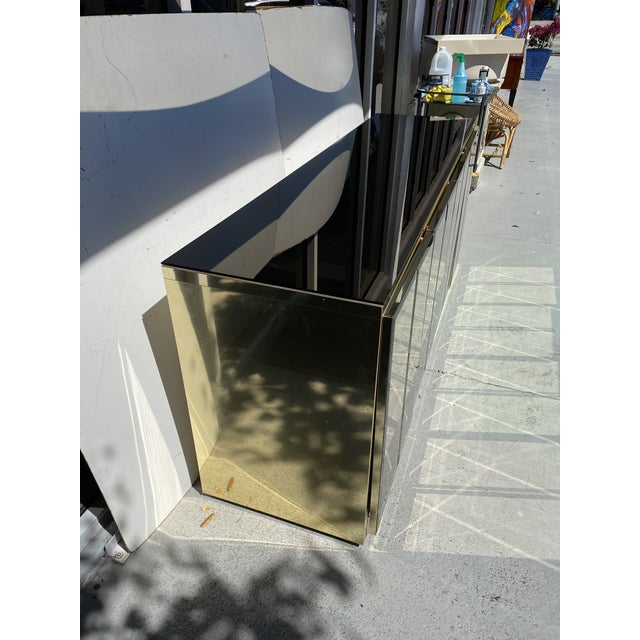 Metal Mirrored and Brass Finish Metal Cabinet For Sale - Image 7 of 11