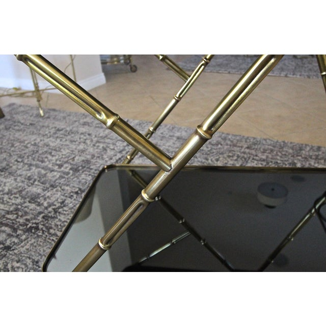Italian Brass Faux Bamboo Bar Tea Cart For Sale In Palm Springs - Image 6 of 13