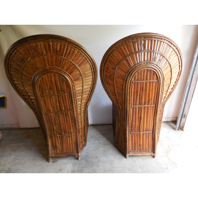 Vintage Bamboo Peacock Chairs - A Pair - Image 4 of 8