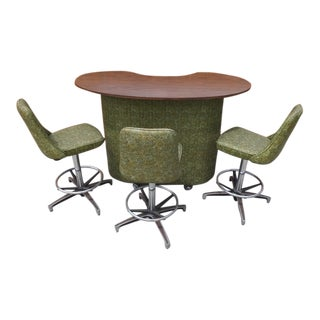 1960's Modern Style Avocado Cocktail Bar and 3-Stool Set - 4 Piece Set