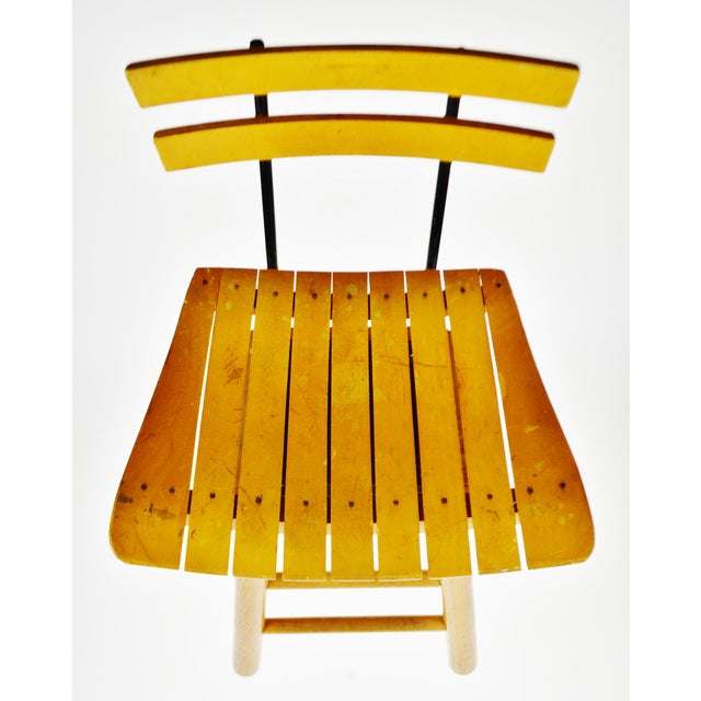 Mid Century Arthur Umanoff Style Slatted Wood Swivel Stool For Sale In Philadelphia - Image 6 of 13