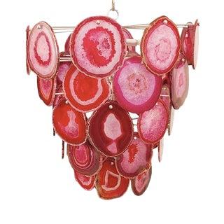 Pink Agate Bebe Chandelier By Marjorie Skouras, Tiered, Gold Finish