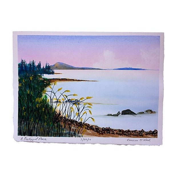 Seascape Watercolor Painting by Cameron O'Neal For Sale
