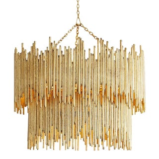 Art Deco Hand Welded Iron Rods Prescot Pendant in Gold Leaf For Sale