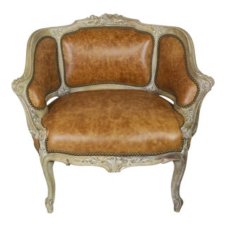 Painted French Leather Bergere For Sale