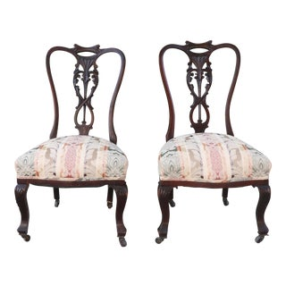 Early 1900's Italian Low Chairs- A Pair For Sale