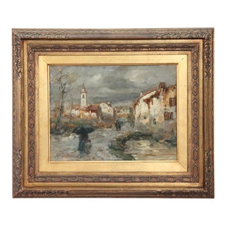 19th Century Important Italian Artis Oil Painting on Hardboard Landscape For Sale