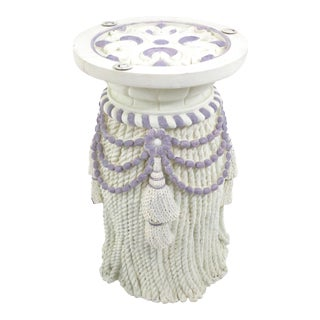 Vintage Plaster Tassel Side Table For Sale