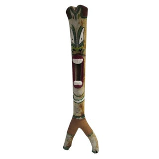 Massive Folk Art Joshua Tree Painted Tiki Totem For Sale