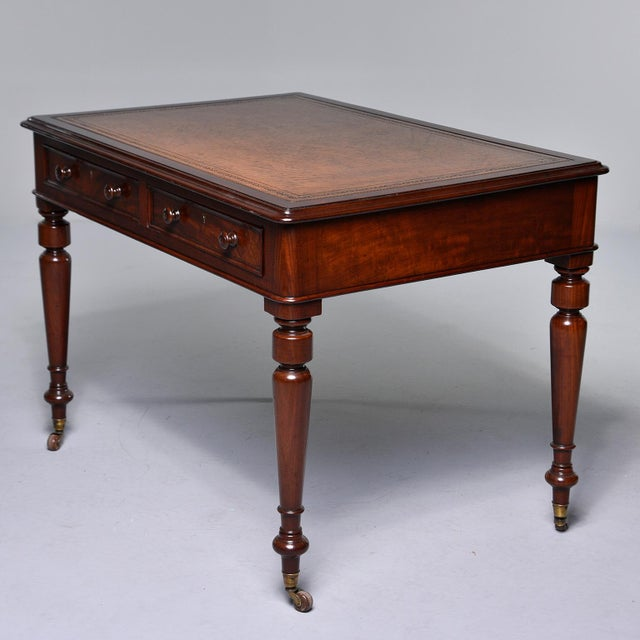 Late 19th Century English Mahogany Desk With Leather Top For Sale - Image 12 of 13