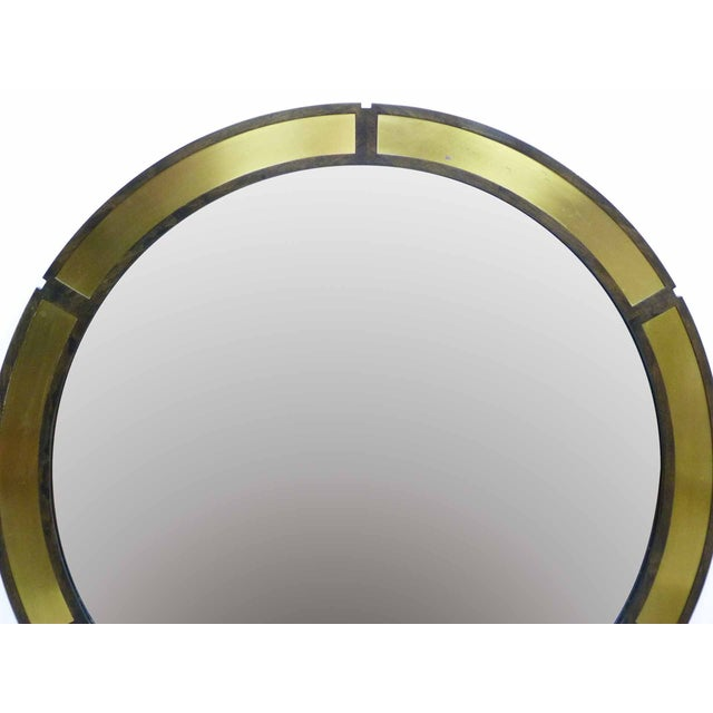 "Large 42"" Round Mirror With Brass Plates - Image 4 of 6"