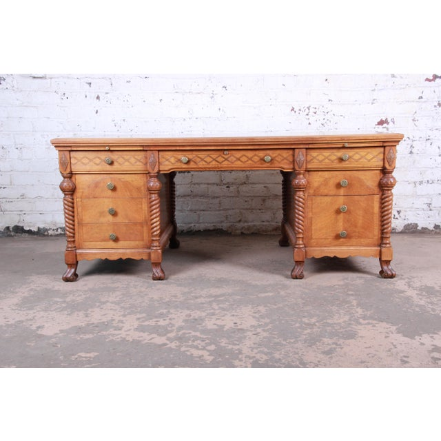 Art Deco Antique Carved Burled Walnut Executive Lincoln Desk, Chicago, Circa 1930s For Sale - Image 3 of 13