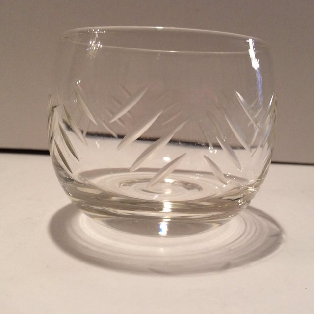 1930's Cut Crystal Roly Poly Glasses - Set of 7 For Sale - Image 4 of 11