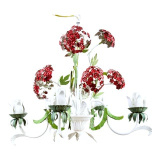 Vintage Red & Green Hydrangea Chandelier For Sale