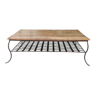 1980s Rustic Wood and Metal Coffee Table For Sale