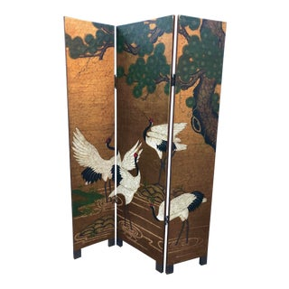 Vintage Gold Chinoiserie Three Panel Screen For Sale