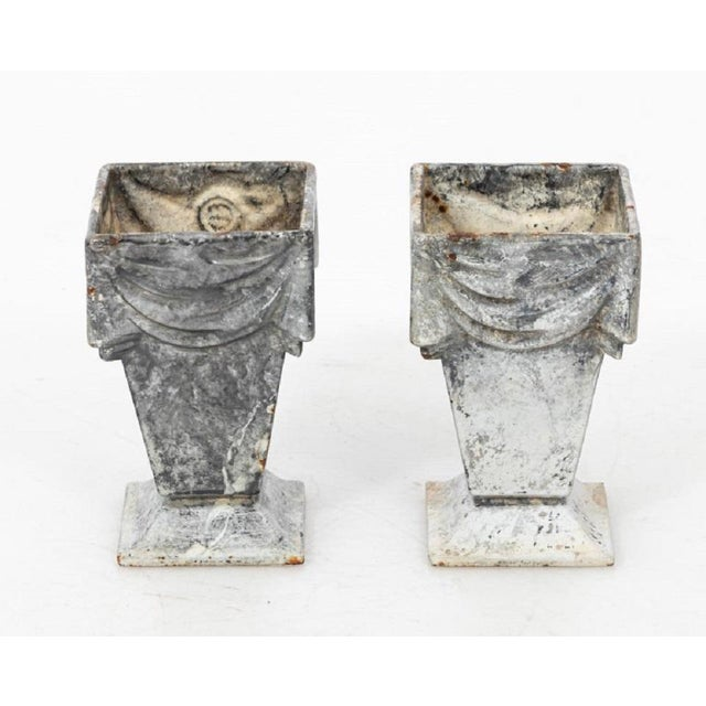 Neoclassical Style Cast Iron Vases With White Enamel Finish For Sale - Image 4 of 7