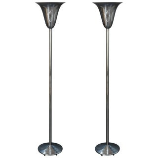 1930s Art Deco Fluted Torchieres After Norman Bel Geddes - a Pair For Sale