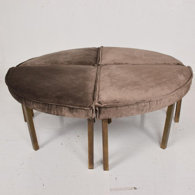 Gold Mid-Century Modern Round Bench Stool Pizza Shape in Bronze and Velvet For Sale - Image 8 of 11