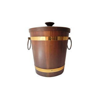Vintage Wood & Brass Ice Bucket