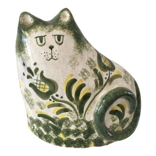 Vintage Green & Yellow Pottery Cat by Mahri For Sale