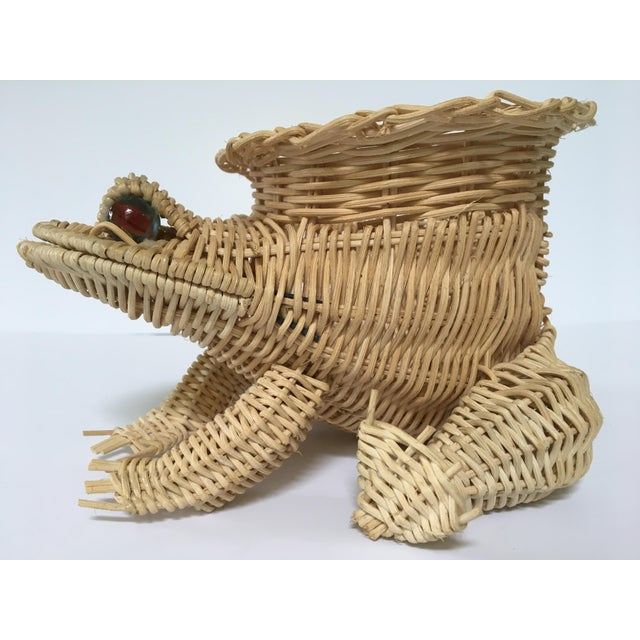 20th Century Cottage Marble Eyed Wicker Frog Planter/Catchall For Sale - Image 4 of 10