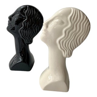 Vintage Art Deco Flapper Style Face Bust Salt and Pepper Shakers For Sale